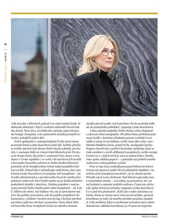 Březnový FORBES s Nobis Studiem a majitelkou Lenkou Kurečkovou
